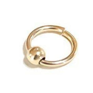Gold Beaded Helix Hoop - Cartilage Hoop Earring